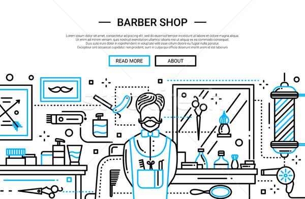 Barbier winkel stad website banner illustratie Stockfoto © Decorwithme