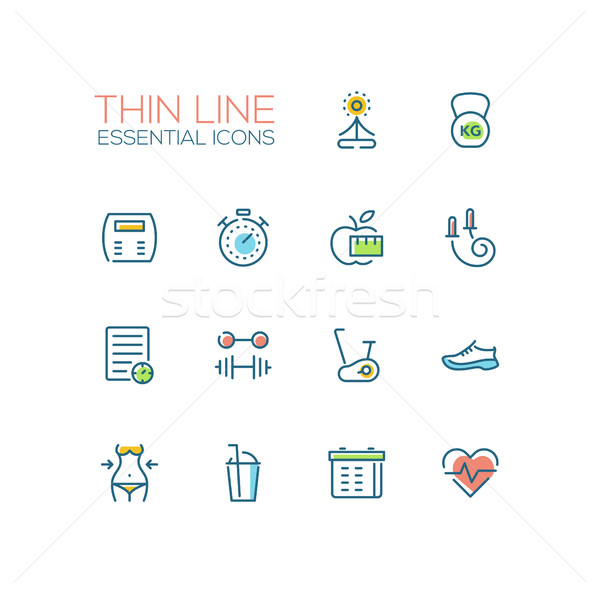 Diet and Fitness - Thin Single Line Icons Set Stock photo © Decorwithme
