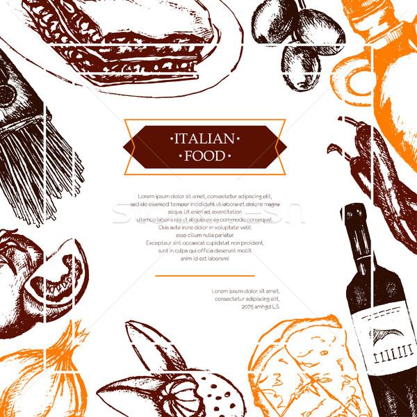 Comida italiana cor aviador vetor Foto stock © Decorwithme