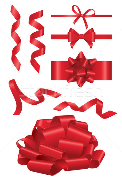 Red Ribbon - realistic vector set of objects Stock photo © Decorwithme