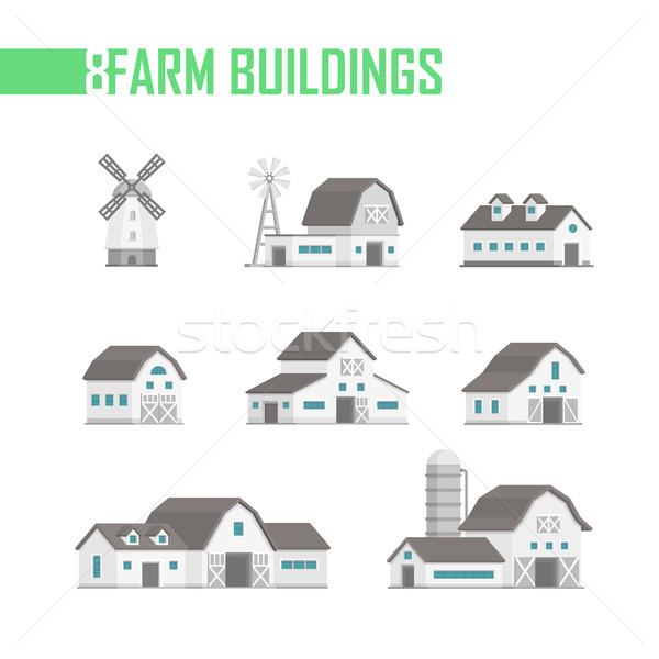 Foto stock: Cinco · fazenda · edifícios · conjunto · ícones · cidade