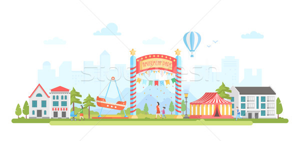 Amusement park - modern flat design style vector illustration Stock photo © Decorwithme