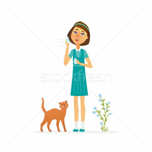 Menina isolado ilustração branco Foto stock © Decorwithme