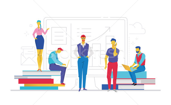 Office workers - flat design style colorful illustration Stock photo © Decorwithme