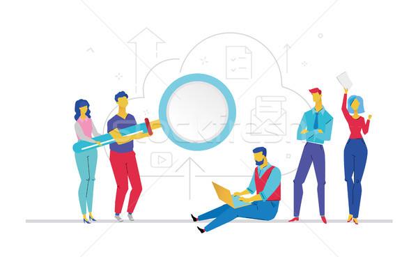 Teamwork - flat design style colorful illustration Stock photo © Decorwithme