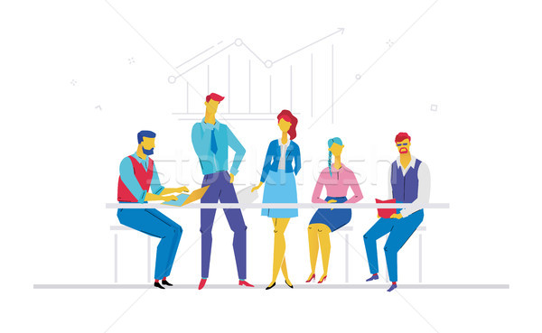Business meeting - flat design style colorful illustration Stock photo © Decorwithme
