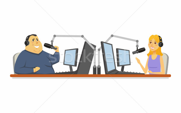 Radio presenters - cartoon people character isolated illustration Stock photo © Decorwithme