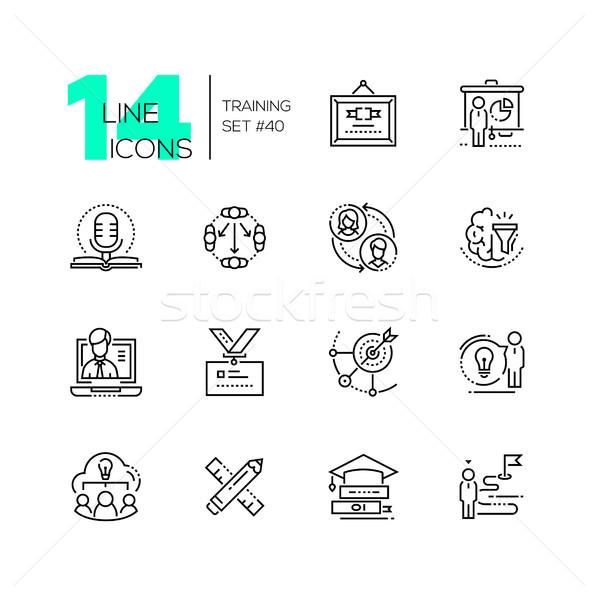 Foto stock: Treinamento · conjunto · linha · projeto · estilo · ícones