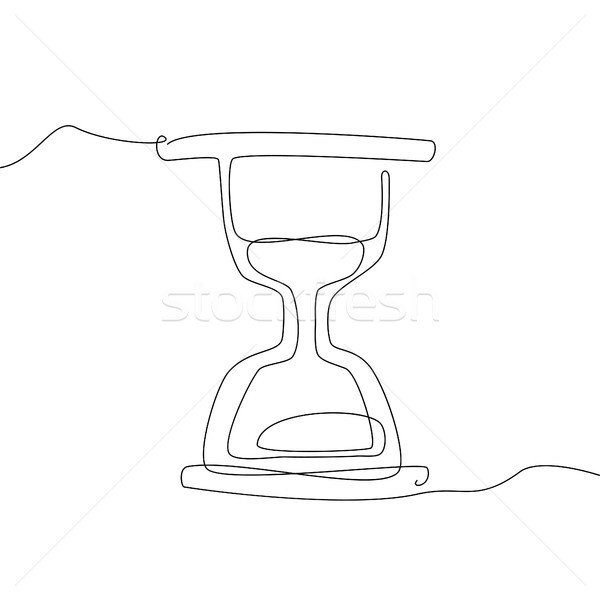 Hourglass - one line design style illustration Stock photo © Decorwithme