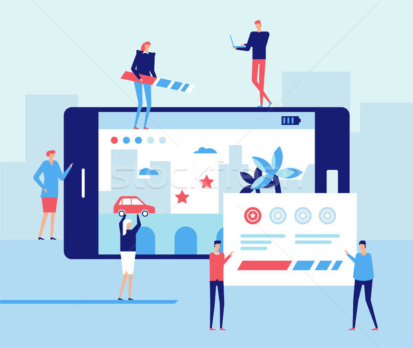 Mobile gaming development - flat design style illustration Stock photo © Decorwithme