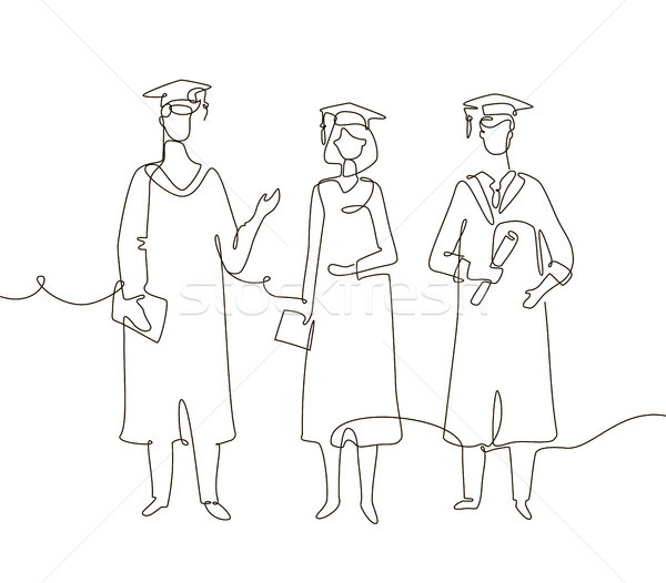 Graduating students - one line design style illustration Stock photo © Decorwithme