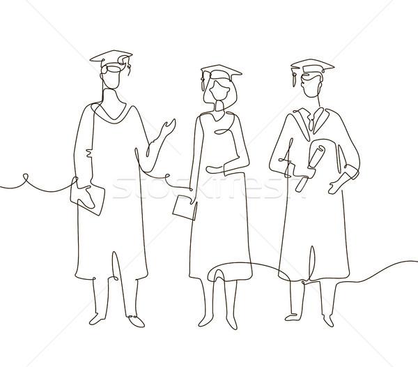 Graduating students - one line design style illustration Stock photo © Decorwithme