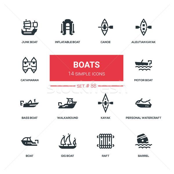 Boats - flat design style icons set Stock photo © Decorwithme
