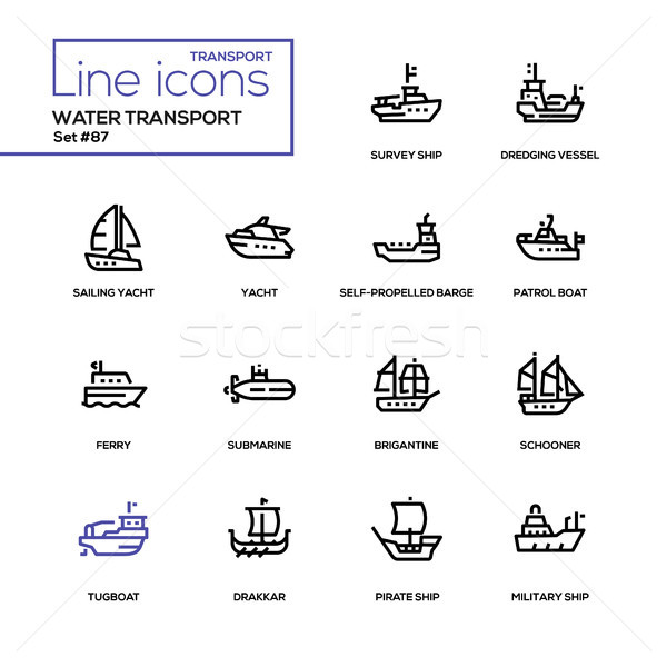Water transport - line design icons set Stock photo © Decorwithme