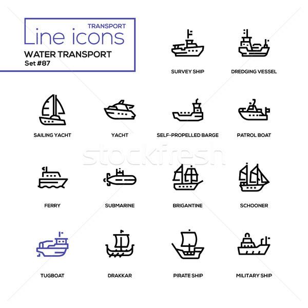 воды транспорт линия дизайна парусного Сток-фото © Decorwithme