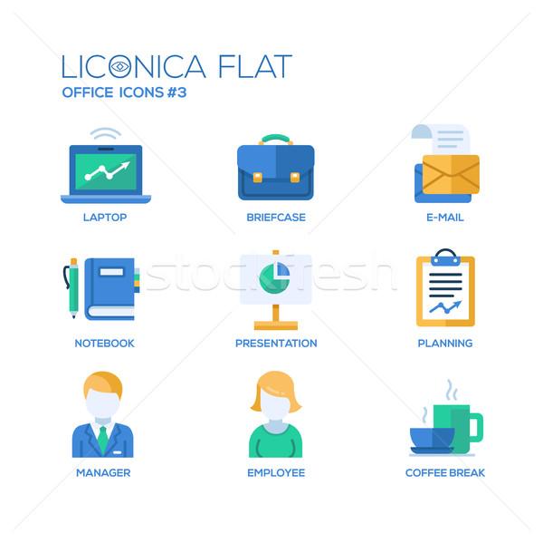 Moderna oficina negocios diseno iconos pictogramas Foto stock © Decorwithme
