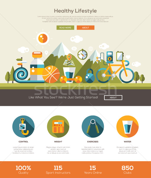 Stock photo:  Healthy lifestyle website template with header and icons