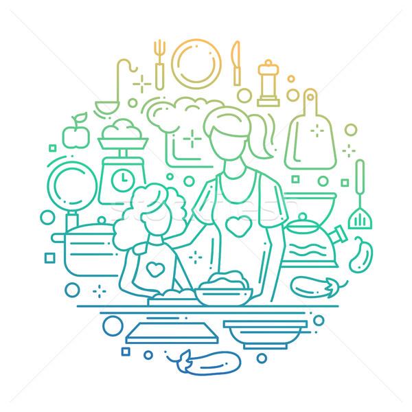 Madre hija cocina línea color gradiente Foto stock © Decorwithme