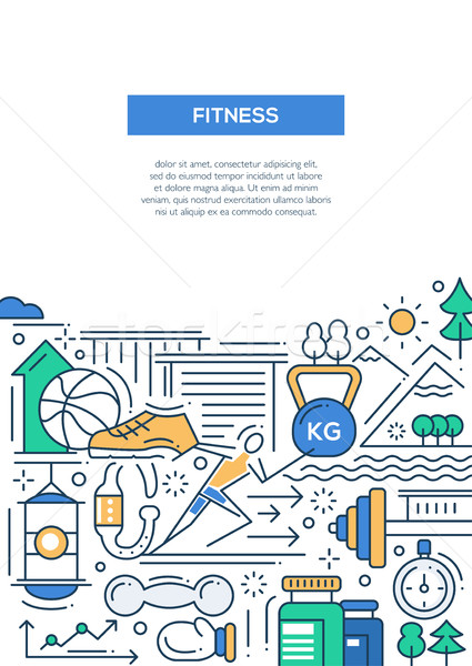 Fitness - line design composition Stock photo © Decorwithme