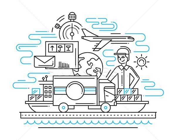 Stockfoto: Levering · dienst · lijn · ontwerp · illustratie · mannelijke