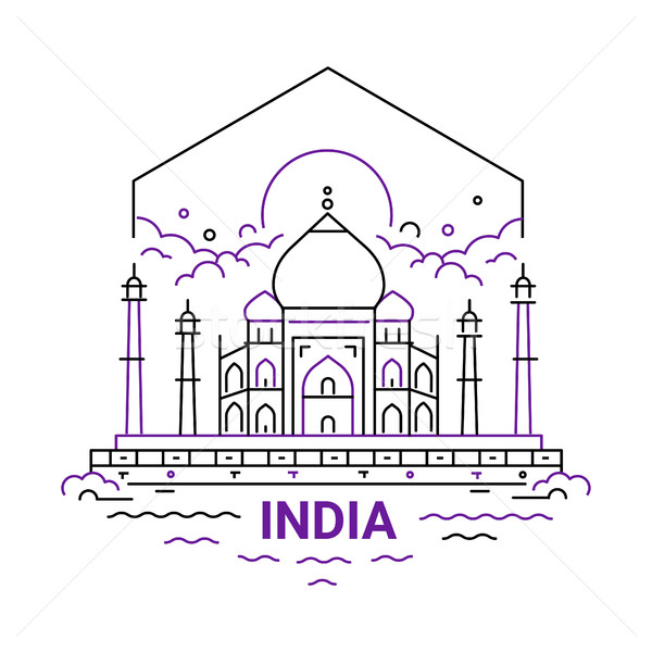 India - modern vector line travel illustration Stock photo © Decorwithme
