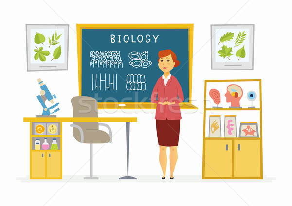Biology Classroom - female teacher composition at the blackboard Stock photo © Decorwithme