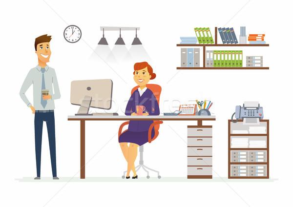 Stockfoto: Kantoor · overleg · moderne · vector · cartoon · business