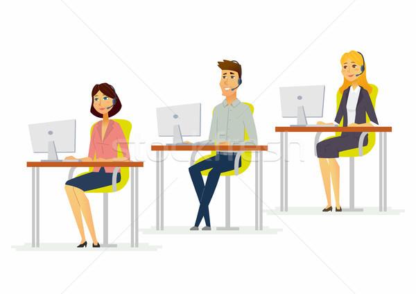 Call center moderne illustratie man Stockfoto © Decorwithme