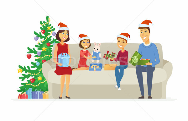 Happy family open Christmas presents - cartoon people characters illustration Stock photo © Decorwithme
