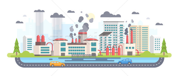 Urban landscape with factory - modern flat design style vector illustration Stock photo © Decorwithme