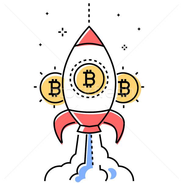 Bitcoin business colorato line design stile Foto d'archivio © Decorwithme