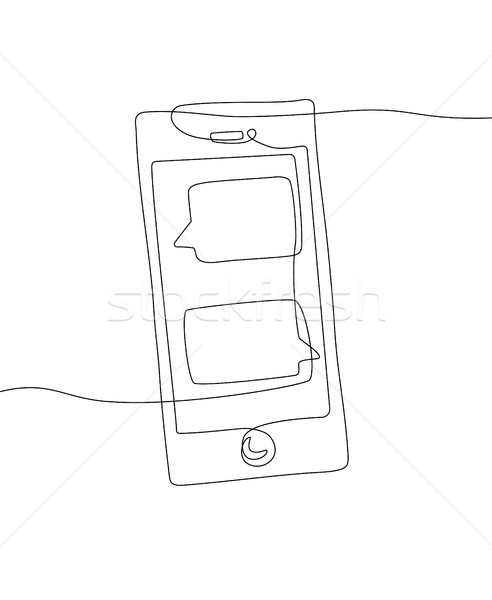 Smartphone - one line design style illustration Stock photo © Decorwithme