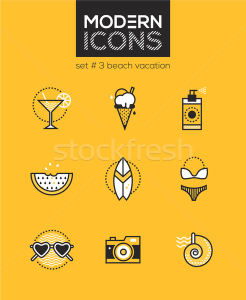 Beach vacation - set of line design style icons Stock photo © Decorwithme