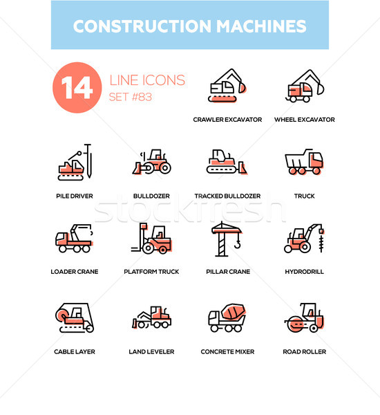 Construction machines - line design icons set Stock photo © Decorwithme