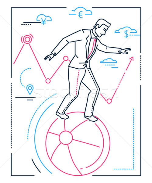 Businessman with balancing on a ball - line design style isolated illustration Stock photo © Decorwithme