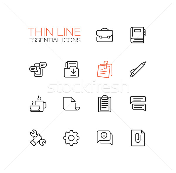 Business, Office - Thin Single Line Icons Set Stock photo © Decorwithme