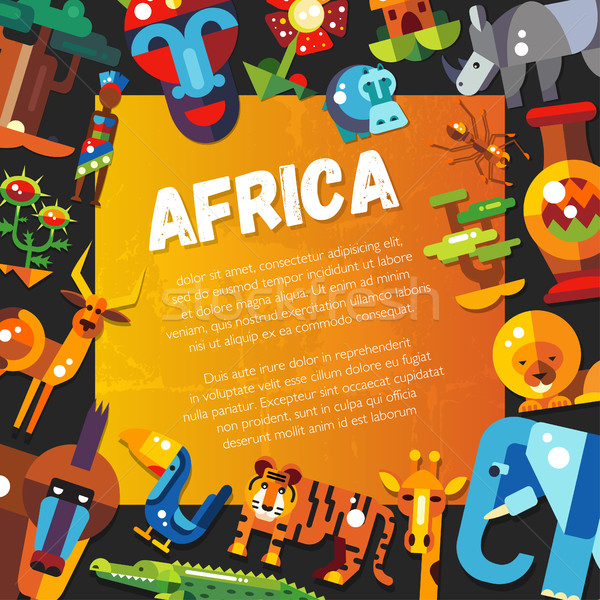 Postcard of flat design african icons and infographics elements  Stock photo © Decorwithme