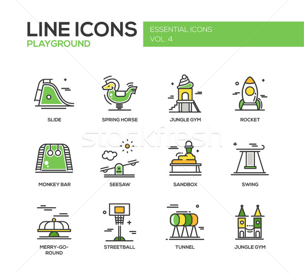 Children playground line design icons set Stock photo © Decorwithme