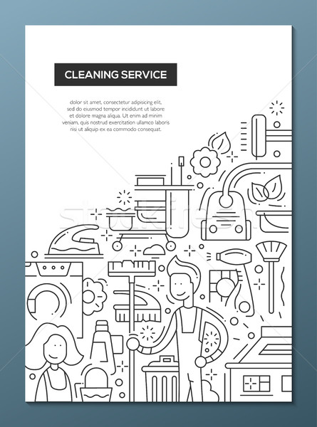 Cleaning Service - line design brochure poster template A4 Stock photo © Decorwithme