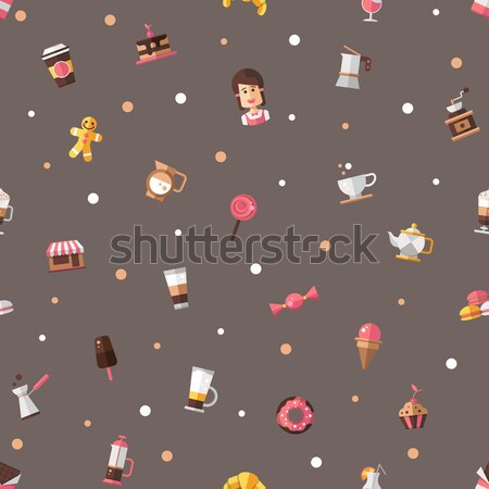 Stock photo: Back to school flat design icons seamless pattern