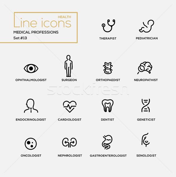 Medische beroepen lijn ontwerp pictogrammen ingesteld Stockfoto © Decorwithme