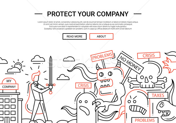 Protect Your Company - line design website banner temlate Stock photo © Decorwithme