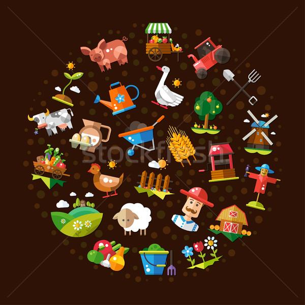 Kör modern terv farm mezőgazdaság illusztráció Stock fotó © Decorwithme