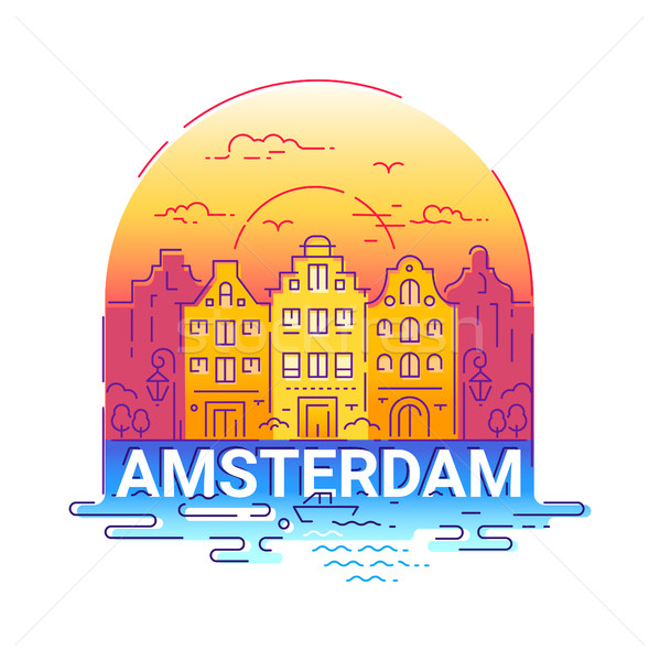 Amserdam - modern vector line travel illustration Stock photo © Decorwithme