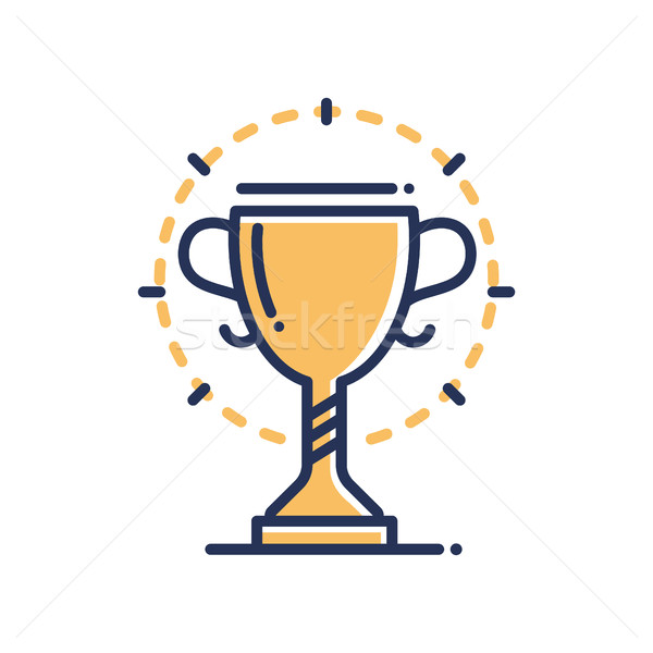 Trophy - modern vector single line icon Stock photo © Decorwithme