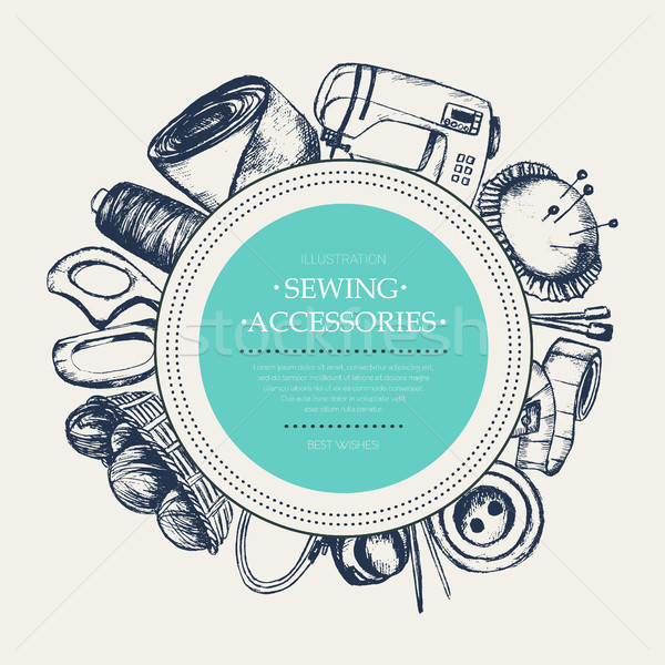 Sewing Accessories - modern drawn round banner. Stock photo © Decorwithme