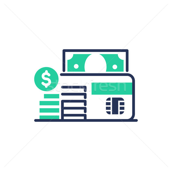 Debit card moderne vector lijn ontwerp icon Stockfoto © Decorwithme