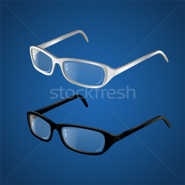 Black and white glasses - modern vector realistic isolated object illustration Stock photo © Decorwithme