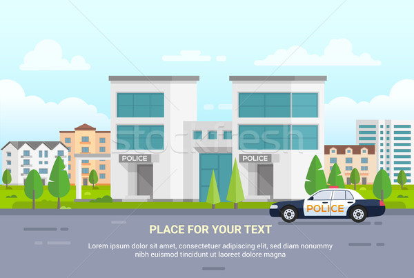City police station with place for text - modern vector illustration Stock photo © Decorwithme