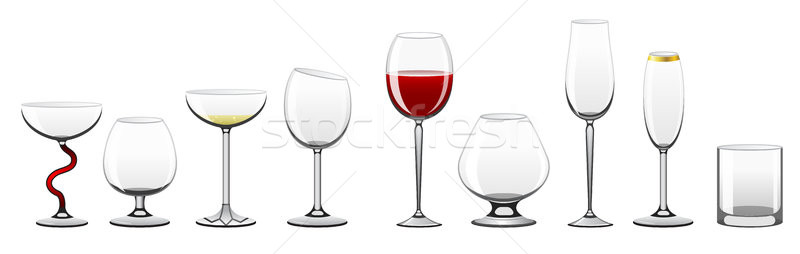 Stemware - realistic vector isolated clip art set of glasses Stock photo © Decorwithme